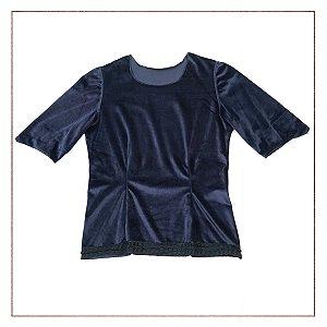 Blusa Camurça Azul Petróleo