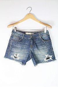Shorts Jeans Hering Pedrinhas Laterais