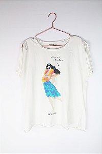 Camiseta Zara Havaiana Branca