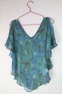 Blusa Zara Azul Transparente