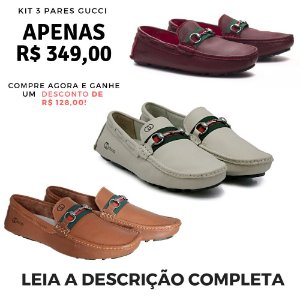 Kit 3 Pares de Mocassim Gucci