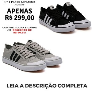 Kit 2 Pares de Tênis Casual Adidas