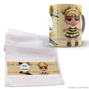 Kit Caneca com Toalhinha Lol Surprise queen bee