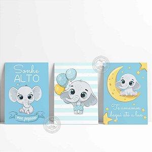 3 Placas Decorativas Elefantinho Baby
