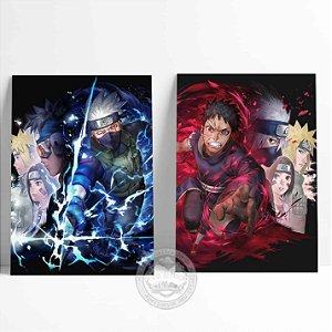 2 Placas Decorativas Kakashi e Obito