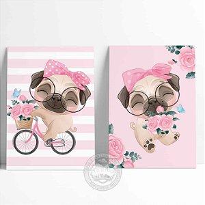 2 Placas Decorativas Pug