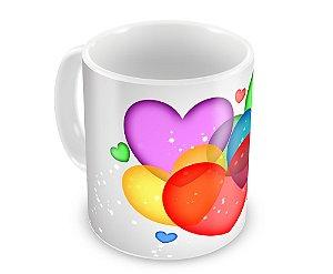 Caneca Personalizada Corações Coloridos