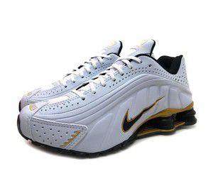 Tênis Nike Shox R4 Gel- Branco com Dourado e Preto Masculino