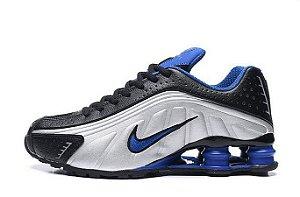 Tênis Nike Shox R4 Gel- Branco com Azul Marinho e Preto Masculino*