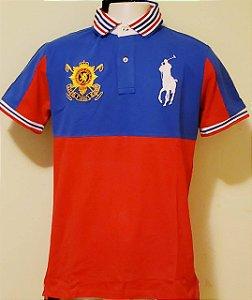 Camisa Linho Polo Ralph Lauren-  Vermelha/Azul-Marinho.