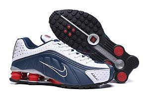 Tênis Nike Shox R4 2020- Azul Marinho Branco Molas Vermelhas Masculino
