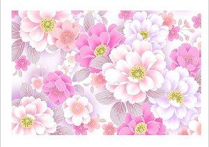 Papel arroz floral rosas A4