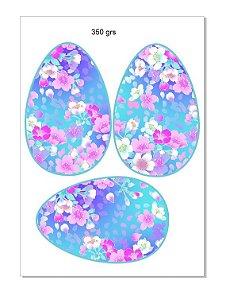 Papel arroz ovo colher floral azul 350 grs