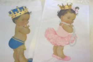 kit Papel arroz bebê Safari principe e princesa A4