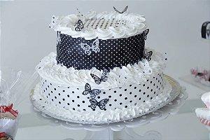 Kit poá preto e branco com borboletas