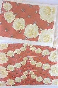 Kit floral capitoné floral vermelho+6 faixas