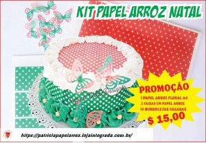 KIT PAPEL ARROZ POÁ NATALINO A4