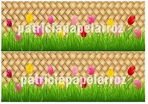 FAIXA  LATERAL CESTA PALHA TULIPAS COLORIDAS