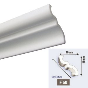 """Moldura RodaTeto de isopor modelo """"Liso de fabrica"""" - F50"""" ( valor por metro )"""