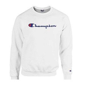 Moletom Champion Felpado Gola Careca Script Logo Branco