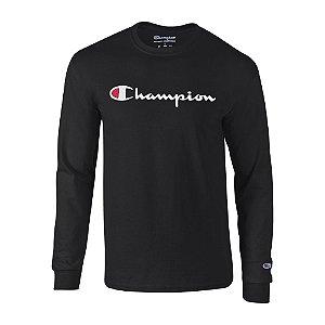 Camiseta Manga Longa Champion Script Logo Preto
