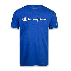 Camiseta Manga Curta Champion Script Logo Print Azul