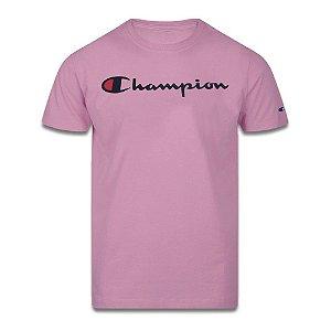 Camiseta Manga Curta Champion Script Logo Print Rosa