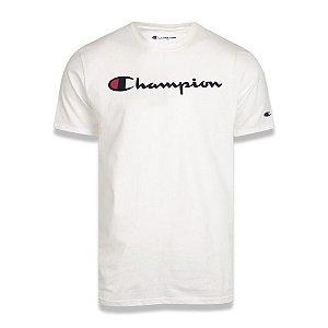 Camiseta Manga Curta Champion Script Logo Print Off White