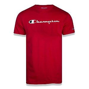 Camiseta Manga Curta Champion Script Logo Print Vermelho