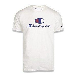 Camiseta Champion Big Script Logo Print Off White