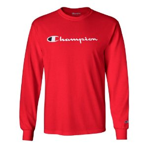 Camiseta Manga Longa Champion Script Logo Vermelho