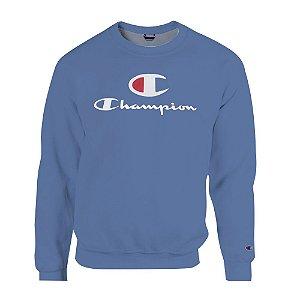 Moletom Champion Felpado Gola Careca Big C Script Logo Azul