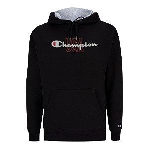 Moletom Champion Felpado c/ Capuz USA Script Logo Preto