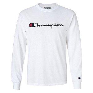 Camiseta Manga Longa Champion Script Logo Branco