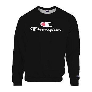Moletom Champion Felpado Gola Careca Big C Script Logo Preto