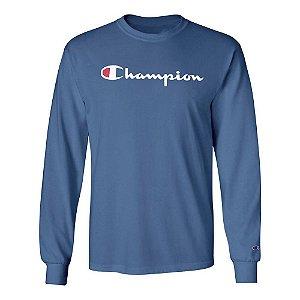 Camiseta Manga Longa Champion Script Logo Azul