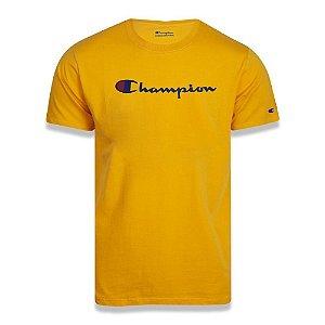 Camiseta Manga Curta Champion Script Logo Print Amarelo