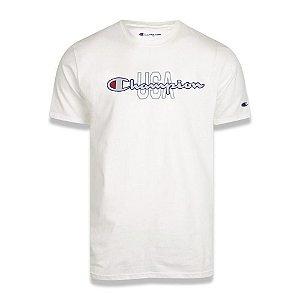 Camiseta Manga Curta Champion Script Logo USA Ink Branco
