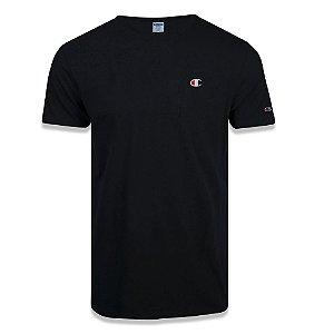 Camiseta Manga Curta Champion Malhão C Bordado Color Preto