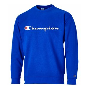 Moletom Champion Gola Careca Super Fleece Script Patch Azul