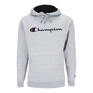 Moletom Champion Felpado c/ Capuz Script Logo Cinza