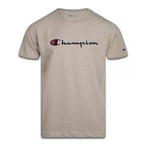 Camiseta Champion Manga Curta Script Logo Print Caqui