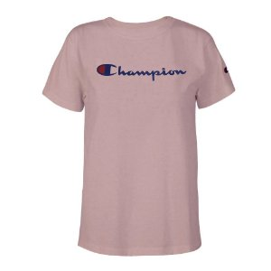 Camiseta Feminina Manga Curta Champion Script Logo Ink Rosa