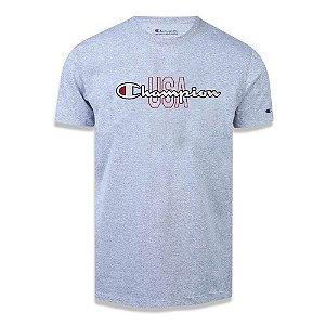 Camiseta Manga Curta Champion Script Logo USA Ink Cinza
