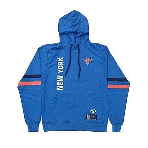 Moletom Canguru M&N New York Knicks NBA Fechado Azul