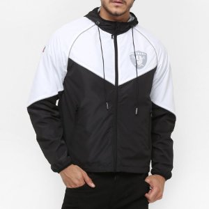 Jaqueta Windbreaker Quebra-vento Oakland Raiders Com Capuz - New Era