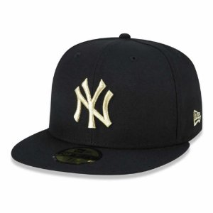 Boné New York Yankees 5950 Gold on Black Fechado - New Era