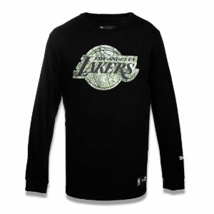 Camiseta Los Angeles Lakers NBA Polka Camuflada Preto - New Era