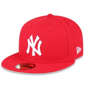Boné New York Yankees 5950 White on Scarlet Fechado - New Era