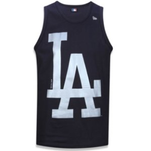 Regata Los Angeles Dodgers Basic Preta/Prata - New Era